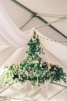 Gorgeous floral chandelier: http://www.stylemepretty.com/new-jersey-weddings/chesterfield-township-new-jersey/2016/02/02/garden-party-inspired-wedding-infused-with-pineapples/ | Photography: Michelle Lange - http://www.loveandbemarried.com/