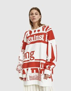 Maison Margiela Vitamin Print Sweatshirt Maxi Coat, Cotton Fleece, Printed Sweatshirts, Pretty Outfits, Graphic Sweatshirt, Pullover, Clothes For Women, Sweaters, Women's Clothing