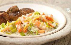Frikadellen mit Möhren-Lauch-Gemüse