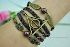 Harry potter  braceletWing Deathly Hallows  Owl  by Evanworld, $4.99 Personalized fashion charm bracelet, the best gift of friendship.