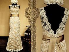 Vintage Feel Meets Stylish - Dark Champagne Underlay Full Lace Wedding Dress with Deep V-Cut Back Design - Floor Length Lace Wedding Dress via Etsy $274