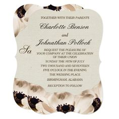 Classy White Anemone Flowers Wedding Card