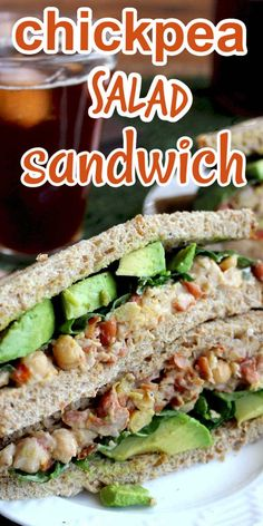 Vegan Chickpea Salad Sandwich is a complete meal with pinto beans and spices added. Don't forget the avocado! Easy to prepare recipe and keeps great in the fridge or freezer. It's Mediterranean style to boot. #chickpeasaladsandwich #veganchickpeasaladsandwich #Mediterraneanchickpeasaladsandwich #easychickpeasaladsandwich #smashedchickpeasaladsandwich Vegan Sandwich Recipes, Vegan Recipes Easy, Salad Recipes, Vegetarian Recipes, Cooking Recipes, Vegetarian Sandwiches, Healthy Sandwiches, Going Vegetarian, Freezer Recipes