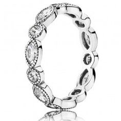 Pandora bring us this attractive ladies ring set in sterling silver, from the new Spring Summer 2015 Collection. Featuring a stylish alternating pattern of sparkly cubic zirconia for a glamorous finish, stacked against other similar rings or on its own it makes a wonderful accessory. Buy with confidence