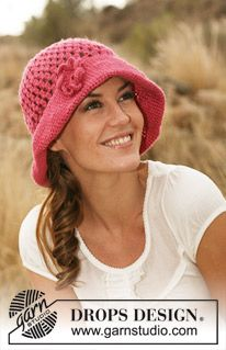 "Crochet DROPS hat with large brim and crochet flower in ""Lin"". ~ DROPS Design"