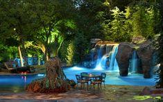 waterfalls pool lighting ideas