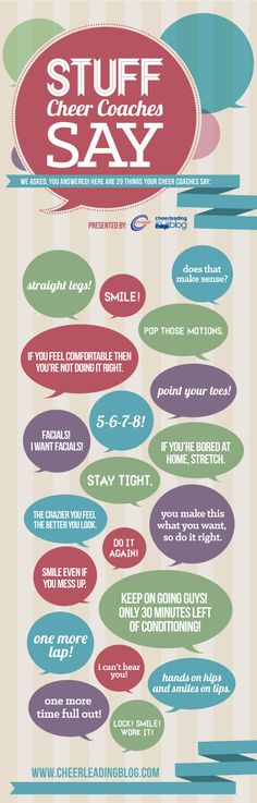 Stuff Cheer Coaches Say (INFOGRAPH) #cheerleading