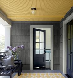 yellow ceiling (marblehead gold by Benjamin Moore Gold Ceiling, Yellow Ceiling, Colored Ceiling, Yellow Walls, Ceiling Color, Siding Colors, Exterior Colors, Exterior Paint, Half Painted Walls