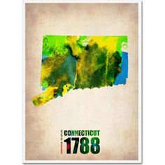 Trademark Fine Art Connecticut Watercolor Map Canvas Art by Naxart, Size: 18 x 24, Multicolor