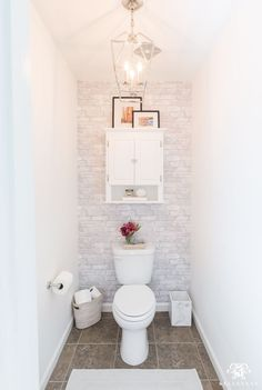 Toilet Room Makeover Reveal and Clever Bathroom Storage in the water closet- sma. Toilet Room Makeover Reveal and Clever Bathroom Storage in the water closet- small space bathroom decorating ideas for powder rooms, too! Toilet Room Decor, Small Toilet Room, Small Space Bathroom, Small Toilet Decor, Small Toilet Design, Toilet Decoration, Bad Inspiration, Bathroom Inspiration, Bathroom Ideas