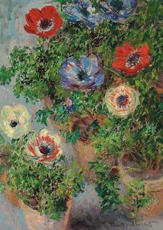 Claude Monet Anemones En Pot 1885 x cm) Monet Paintings, Paintings I Love, Art Floral, Artist Monet, Impressionist Paintings, Renoir, Love Art, Amazing Art, Artwork