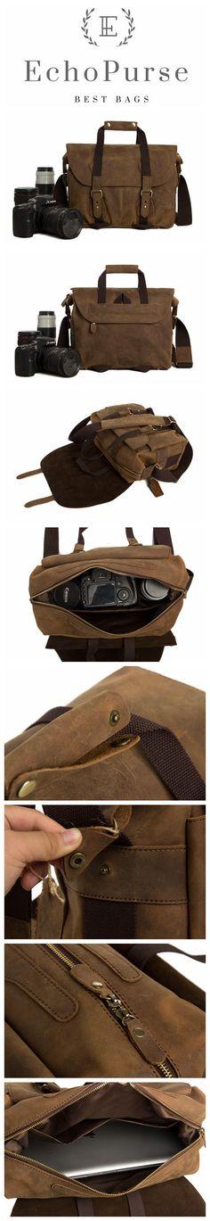 Genuine Leather DSLR Camera Bag, Professional Camera Pouch, Messenger Bag D220