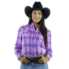 Ladies Pink Check Western Shirt | Long Sleeve Ladies Snap Down Shirt Ladies Western Shirts, Ladies Shirts, Pink Check Shirt, Country Outfits, Work Shirts, Western Wear, Double Breasted, Down Shirt, Long Sleeve Shirts