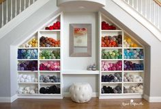 48 Trendy Craft Room Organization Yarn Repeat Crafter Me Yarn Storage, Craft Room Storage, Craft Rooms, Storage Ideas, Crochet Storage, Knitting Room, Yarn Organization, Organizing, Double Staircase