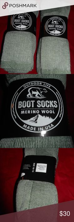 6 Pair Men Outdoor Life Merino Wool Boot Sock 8-12 .  6 Pair  Outdoor Life Merino Wool Boot Sock 1st Quality!!! Moisture Management Arch Support Comfort Toe Seam 65% Merino Wool 20% Acrylic 15% Nylon Fits Men Shoe 8-12 Made in the USA Outdoor Life Underwear & Socks Casual Socks
