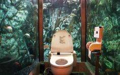 The Underwater Bathroom - This woman's restroom is encompassed by an underwater aquarium, located in Akashi, Japan. Underwater Bedroom, Feng Shui, Cool Toilets, Amazing Bathrooms, Unusual Bathrooms, Cool Pictures, Random Pictures, At Least, Around The Worlds