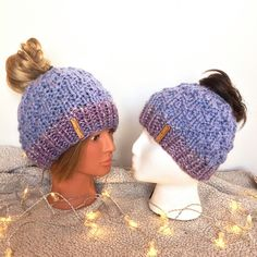 Mommy and Me Messy Bun Hats, this set available on Etsy!