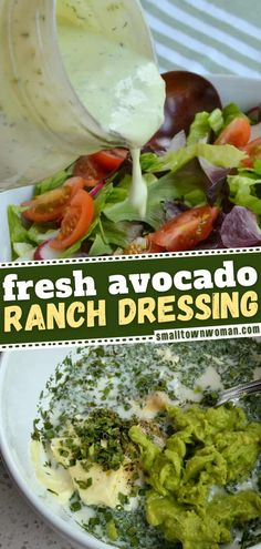 2 reviews · 10 minutes · Vegetarian Gluten free · Serves 1 · The best Avocado Ranch dressing perfect to pair with your summer salads! It is made with sweet buttermilk, sour cream, mayonnaise, fresh chives, dill, parsley and of course creamy avocado. It is so… Avocado Ranch Dressing, Ranch Dressing Recipe, Salad Dressing Recipes, Salad Dressings, Veggie Recipes, Salad Recipes, Cooking Recipes, Healthy Recipes, Pie Recipes