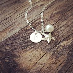 Sterling Silver Starfish Pearl Initial necklace  Summer, Beach Jewelry