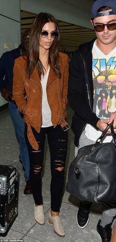 Emily Ratajkowski.. Veda Jayne Suede Jacket, Frame Denim Le Color Rip Jeans, and Barneys New York Suede Derbys..