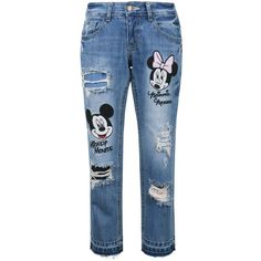 Disney Mickey Minnie Mouse Vintage Washed Cotton Denim Jean Pants ($75) ❤ liked on Polyvore featuring disney