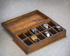Watch Box, Watch Case, Men's Watch Box, Watch Box for Men, Wood Watch Box, Gift, Custom Watch Box for 12 watches with secret compartment