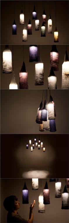 Sock pendant lights designed by Jay Watson.