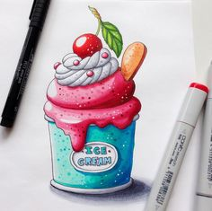 Sunday sweetness ❤️❤️❤️Would you like to have it on your t-shirt?!;) Now available on Redbubble. #summerdessert #dessert #icecream #icecreamlover #sketch #sketchflashmob  #sketchchallenge #dessertillustration #lettering  #sweetfood #sketchbookart #copic #copicmarkers #copicart #copicsketch #copicsketchmarkers #365daysofsketching #sketcheveryday #dailysketching #redbubble #sundaymorning #lazysunday