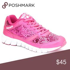 🆕 Pink Glitter Athletic Sneaker Thick traction soles, a cushioned footbed, adjustable laces, and a glittery finish give this shoe sporty glamour to your athletic wardrobe! Shoes Athletic Shoes