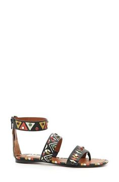 VALENTINO Ankle Strap Sandal.  Cabochons stud a calfskin leather thong sandal topped with a flattering ankle band and featuring a vibrant mix of geometric prints for an artisanal look. Back zip closure.  Made in Italy.