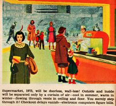 1956 Predictions of Family Life 20 Years From Now 1975 Vintage Humor, Vintage Ads, Vintage Prints, Vintage Magazines, Retro Images, The Future Is Now, History Photos, Retro Futurism, Dieselpunk