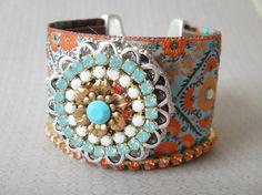 Indian gypsy queen  bohemian hippie  ribbon leather by OOAKjewelz