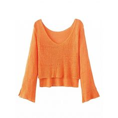Choies Orange V-neck Dipped Hem Flared Sleeve Knit Jumper (87 RON) ❤ liked on Polyvore featuring tops, sweaters, blue, bell sleeve sweater, blue sweater, blue v neck sweater, orange v neck sweater and red knit sweater