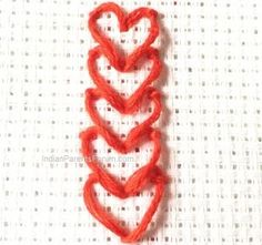String of hearts Chain stitch - hand embroidery tutorial