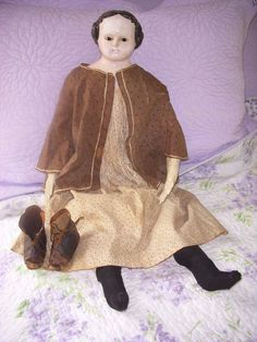 Antique glass eye Papier-Mache / Greiner? doll in Dolls & Bears, Dolls, Antique (Pre-1930) | eBay