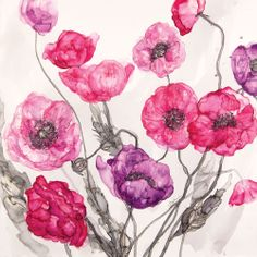 Lilac Poppy at Whistlefish - handpicked contemporary & traditional art that is high quality & affordable. Traditional Art, Poppies, Lilac, Canvas Art, Greeting Cards, Clip Art, Tapestry, Watercolor, Ink