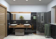 Black mosaic bathroom by Roberto De Angelis, via Behance