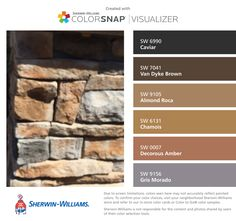 I found these colors with ColorSnap® Visualizer for iPhone by Sherwin-Williams: Caviar (SW 6990), Van Dyke Brown (SW 7041), Almond Roca (SW 9105), Chamois (SW 6131), Decorous Amber (SW 0007), Gris Morado (SW 9156).