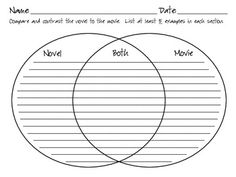 the book vs the movie graphic organizer compare and contrast use this venn diagram to compare any novel its movie