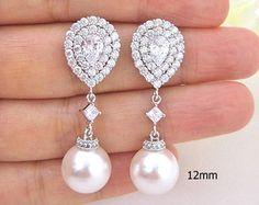 Crystal Wedding Earrings Bridal Jewelry by DreamIslandJewellery