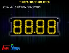 8 Inch 88.88 LED Gas Price Display Yellow with housing dimension H293mm x W632mm x D55mmand format 88.88 comes with complete set of Control Box, Power Cable, Signal Cable & 2 RF Remote Controls (Free remote controls).