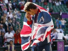 Britain's Murray after winning the men's singles tennis gold medal match during the London 2012 Olympic Games