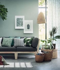 25 Of The Best Places To Buy Inexpensive Home Decor Online Decor Room, Living Room Decor, Living Room Colors, Living Room Green, Green Rooms, Green Walls, Wall Decor, Large Storage Baskets, Inexpensive Home Decor