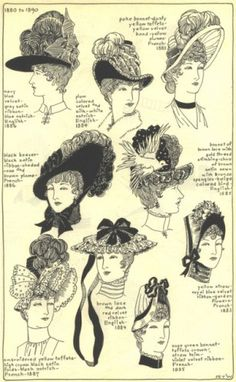Victorian ladies hat 1880 to 1890.