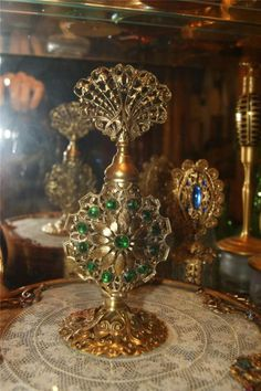 Antique Jeweled Perfume Bottle Green glass stones & glass dauber Ormolu Oh My Gosh...So Beautiful!
