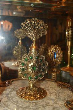 Antique Jeweled Perfume Bottle Green glass stones & glass dauber Ormolu   eBay