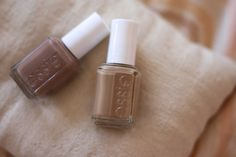 Essie {these colors = love} I have what people call 'Olive Complexion' so on me these colors are an extension of my skin tone yet a shade darker. The light one for winter/fall & the darker one for spring/summer. I honestly cannot say what they will look like on other skin tones though.