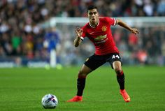 Andreas Pereira of Manchester United in action during the Capital One Cup second round match between MK Dons and Manchester United at Stadium mk on August 26, 2014 in Milton Keynes, England