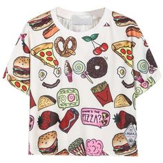 CHOIES Women's Polyester Fast Food Print Round Neck Short Sleeve Crop... (72 DKK) via Polyvore featuring tops, t-shirts, print t shirts, white tee, print tees, white round neck t shirt and crop t shirt