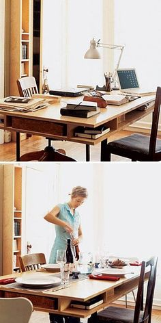 Office Table by Day, Dining Table by Night. Double topped table allows for easy storage for laptops and books.